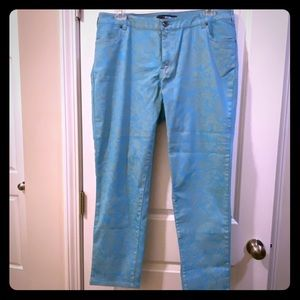 Printed bright blue jeans